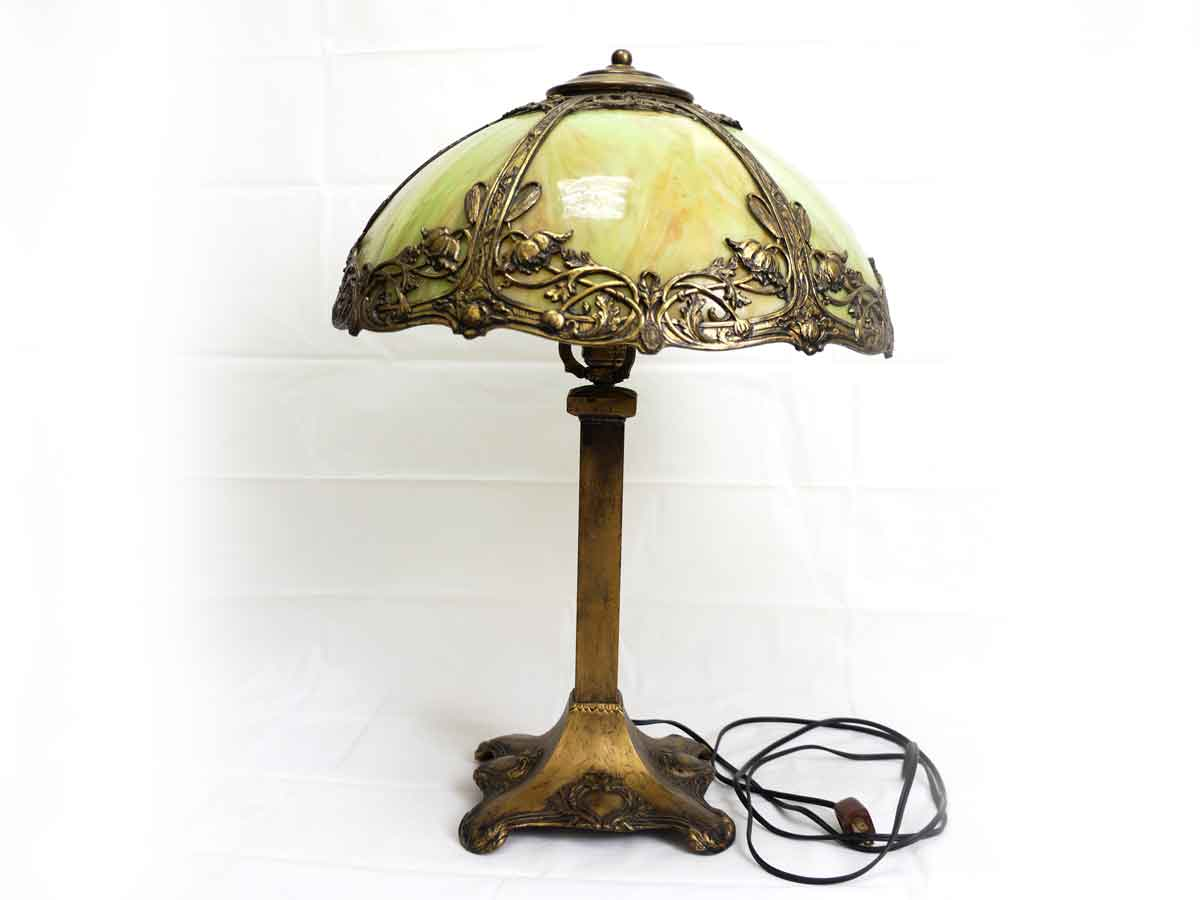 Antique Bronze Stained Glass Table Desk Lamp - Antique Bronze Stained Glass Table Desk Lamp Raresy Online Art Gallery